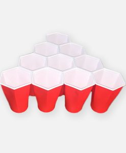 hex cups - sexkantiga red cups i en pyramid